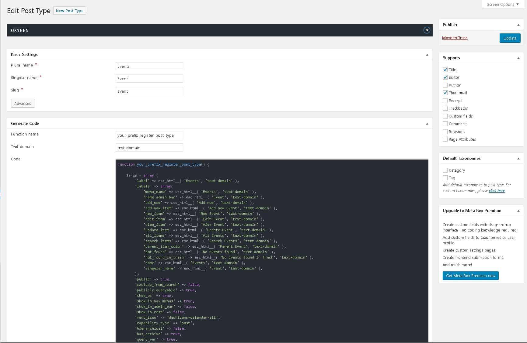 Event Archive Custom Post Type Using Metabox/Oxygen - Koehn Design